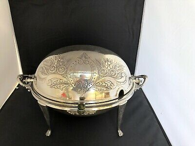 ANTIQUE c. 1903 WALKER & HALL SHEFFIELD 51895 SILVER PLATE ROLL TOP SERVING (C5)