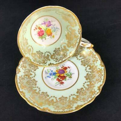 1940s Fancy Paragon England Gold Filigree Floral Bouquet Pastel Green Cup Saucer