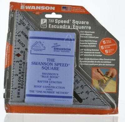 """Swanson 7/"""" /& 12/"""" Speed Roofing Rafter Square Twin Set WITH Blue Instruction Book"""
