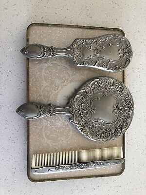 Silver brush, mirror and Comb set with tray
