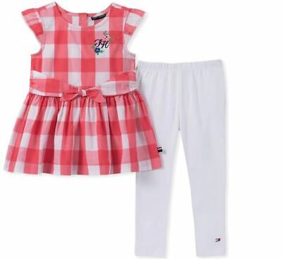 TOMMY HILFIGER NWT NEW 3T 2-Pc Gingham Tunic Legging Cherry Fun Red White Floral