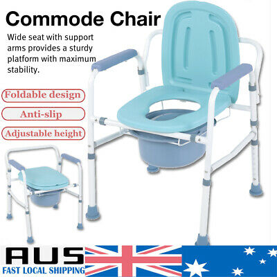 Heavy-Duty Steel Commode Toilet Chair Bedside Foldable Drop-Arm Commode Chair