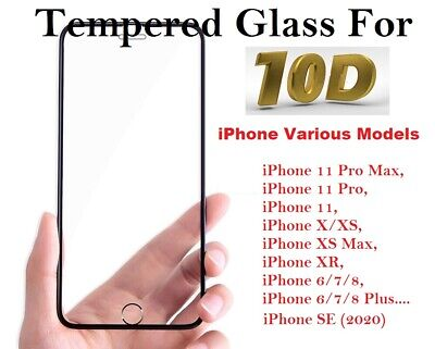 Screen Protector for iPhone 11,11Pro Max 9H Curved 10D FULL COVER TEMPERED GLASS