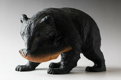 """Japanese Wood Bear With Salmon Statue Hand Carving Ainu Craft 9"""" Wide #25400"""