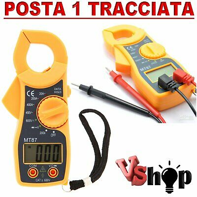 Multimetro Pinza Amperometrica Mt87 Test Tester Digitale Con Puntali Mt-87