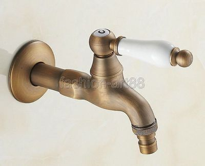 Antique Brass White Ceramic Lever Garden Washing Machine Water Tap Faucet fav105