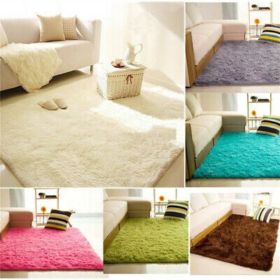 Fluffy Rugs Anti-Skid Shaggy Rug Dining Room Home Bedroom Carpet Floor Mat@LED5
