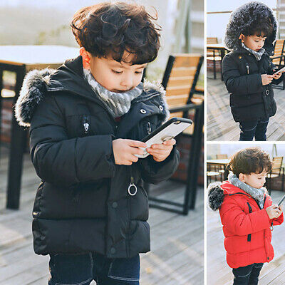 Toddler Kids Girl Boy Padded Hooded Jacket Winter Coat Thick Faux Fur Parka Warm