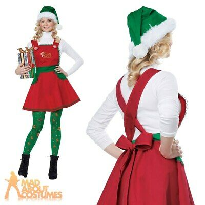 Adult Ladies Elf in Charge Costume Santas Helper Christmas Fancy Dress Outfit
