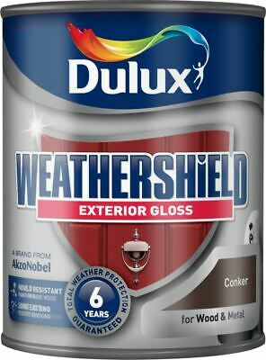Dulux Weather Shield Exterior High Gloss Paint, 750 ml - Conker