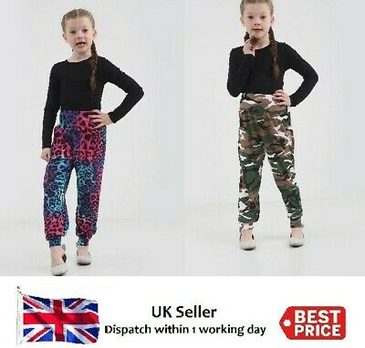 Girls Childrens Printed Harem Trousers Pants Kids Leggings Army & Multi Leopard