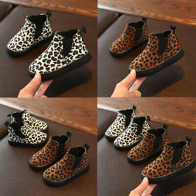 New Toddler Children Kids Baby Girls Boys Leopard Winter Warm Short Boots Shoes