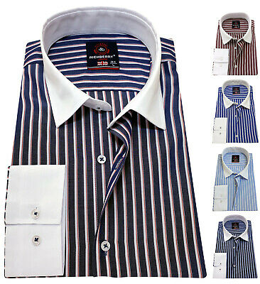 RICHBERRY Men's Shirt Striped cotton Contrast collar Formal Casual Long sleeve