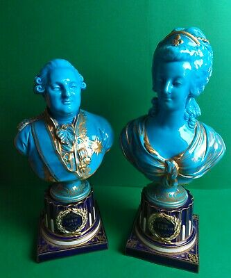 Antique French Sevres Porcelain Busts of Louis XV1 and Marie Antoinette