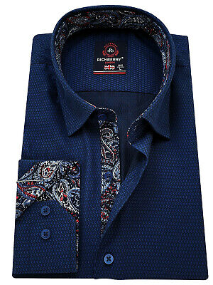 RICHBERRY Men's Blue cotton Shirt contrast collar Formal Casual Long sleeve