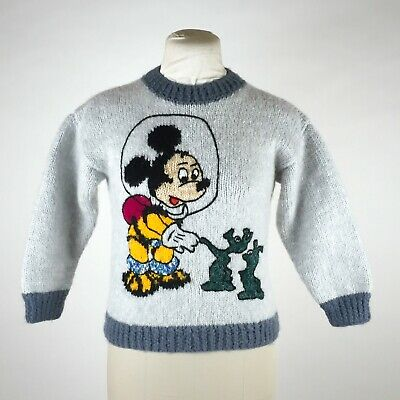 Vintage Kids Mickey Mouse Sweater Hand Knit Space Aliens