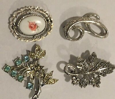 Ladies Jewellery Job Lot 4xSilver Brooches Light Blue Topaz & C.Z. Hand Painted.