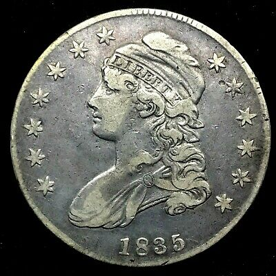 1835 Capped Bust Half Dollar XF/ AU  Lettered Edge  Silver US Coin #1