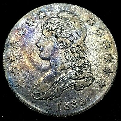 1835 Capped Bust Half Dollar XF/ AU  Lettered Edge Toned  Silver US Coin #2