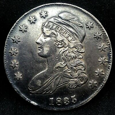 1835 Capped Bust Half Dollar AU/MS  Lettered Edge Fully Toned  Silver US Coin #3