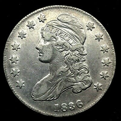 1836 Capped Bust Half Dollar XF/ AU  Lettered Edge - Beaded Border on Reverse.