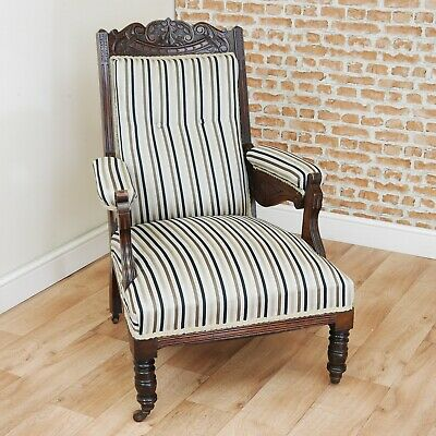 Antique Edwardian Carved Button Back Walnut Colour Armchair Fireside Gents Chair