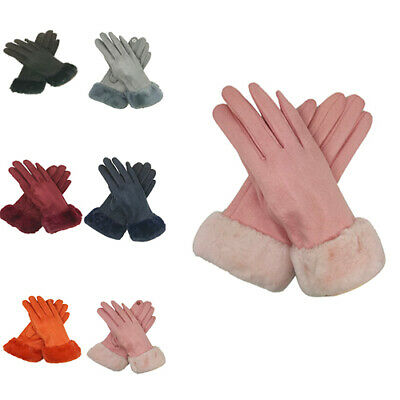 Women's Ladies Fashion Soft Stretchy Gloves Touch Screen Fur Feature Mittens
