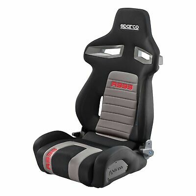 Sparco R333 Forza Reclining Sports Seat in Black/Grey/Red Fabric