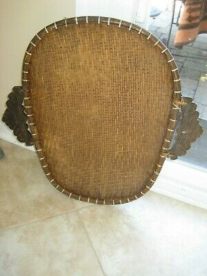 Vintage Rattan Winnowing / Threshing Basket with Wooden Handles Rustic Woven