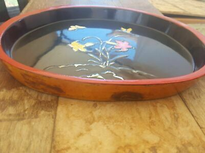 Chinese/Japanese Lacquer Wood Tray Inlay Mother Of Pearl Butterfly Floral