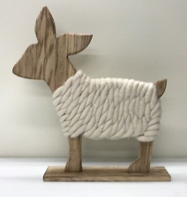 NEW Pottery Barn KIDS Wooden Wool Deer Decor~LARGE~Winter Holiday Christmas