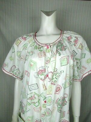 Smart Time Snap Front House Dress Lounge Wear TEA PARTY Theme Size Large