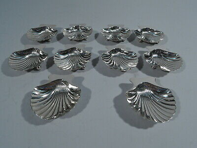 Tiffany Nut Dishes - 22479 - 10 Scallop Shell Bowls - American Sterling Silver