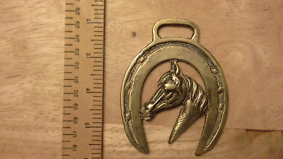 Vintage horse brass horses head in lucky horseshoe
