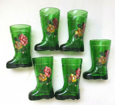 Boot shaped Vintage Glass Emerald Green Cordials Shot Glasses Hand Painted