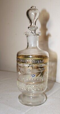 antique hand blown 19th century painted enameled glass liquor decanter bottle