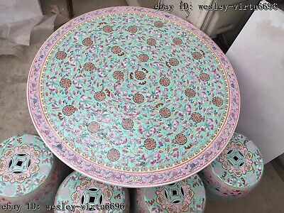 Chinese Enamel Porcelain Pottery Painted Peach Round Stool Dining Table Sets