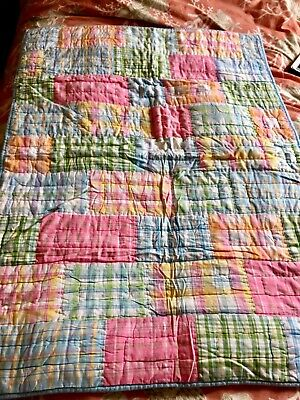 Pottery Barn Kids Madras Toddler Quilted Cover NWOT