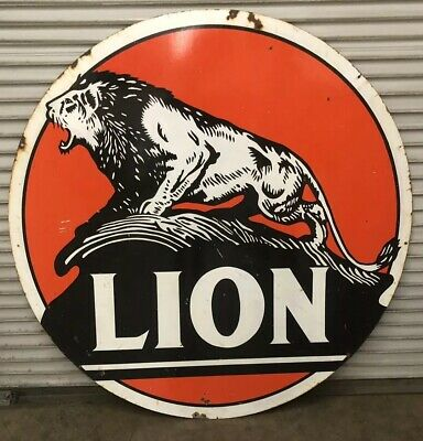 Original 6ft Double Sided Porcelain Lion Gas Station Pole Sign.