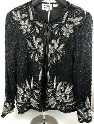Vintage NITE LINE Lawrence Kazar Silver Black Sequin Beaded Jacket Sz L