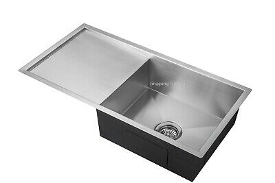 Handmade Stainless Steel Kitchen Sink Single Bowl with Drainer (860mm x 450mm)