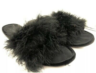 Black Vtg. ladies Marabou Feather Glamour Skuffs Slippers House Shoes Sz L 9 10