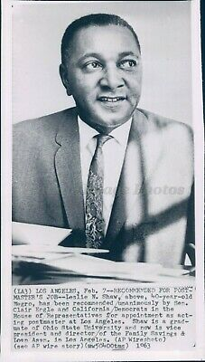 1963 Photo Leslie Shaw Black African American Postmaster Los Angeles
