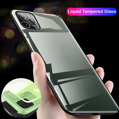 Hybrid Liquid Tempered Glass Hard Case Cover for iPhone 11 Pro Max XR X 6s 7 8+
