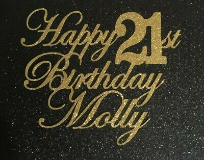 Personalised 21st Happy Birthday Cake Topper Glitter Any Name Any Age