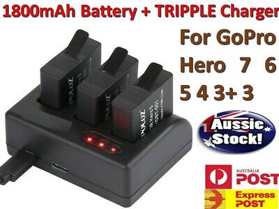 Charger + 1800mAh Battery for GoPro Hero Go Pro HD Hero 3 4 5 6 7 Camera Gopro