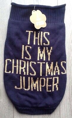 Christmas Dog Pet Jumper Sweater Coat Large Blue And Gold .