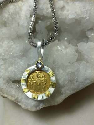 Ancient Gold 22K Coin Byzantine Pendant Authentic Necklace Heavy Silver Sapphire