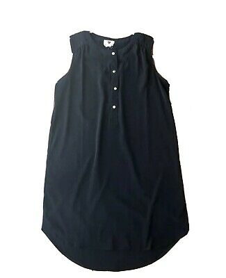 One Clothing Juniors Size M Sleeveless Shift Dress Black 1/2 Button Front Hi-Lo