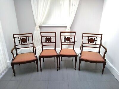 Set of Four Antique Edwardian Mahogany Wood Chairs with Inlaid Marquetry